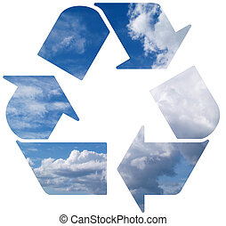 Green world wide Recycle symbol on cloud background