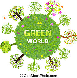 Green World With Trees, Isolated On White Background, Vector...