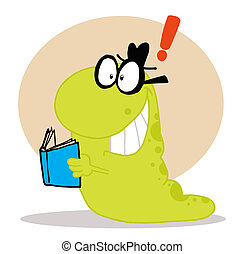 Green Worm Coming To A Realization While Reading A Blue Book...