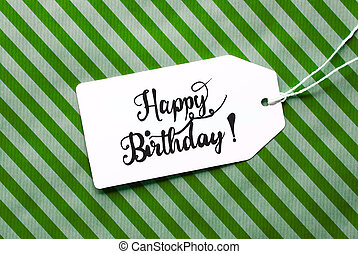 Green Wrapping Paper, Label With Happy Birthday
