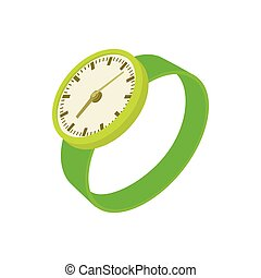 Green wrist watch icon, cartoon style