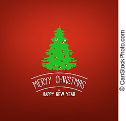 Green X-mas Tree. Merry Christmas and Happy New Year. Vector greeting card. On Red