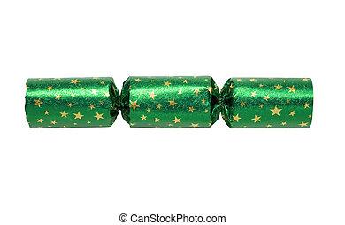 Green Xmas Cracker - Shiny Green Christmas Cracker