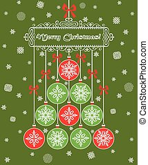 Green xmas postcard with hanging baubles and christmas greeting
