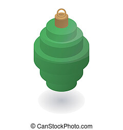 Green xmas tree toy icon, isometric style
