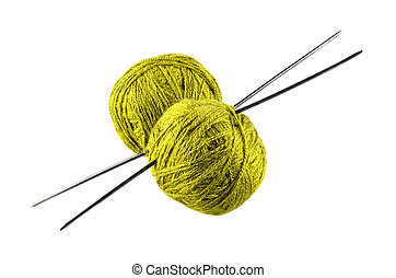 green yarn for knitting with spokes