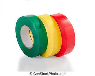 Green, yellow and red insulating tape