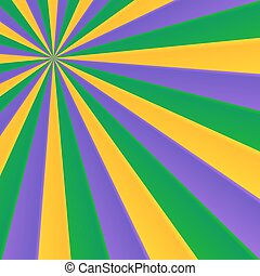 Green, yellow and violet rays carnival background