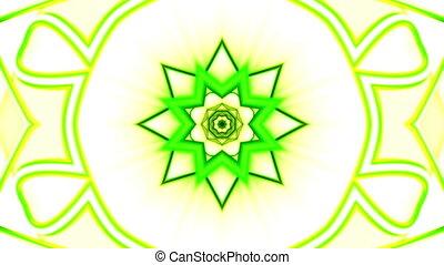 Green yellow and white CG Kaleidoscopic VJ looping animated background