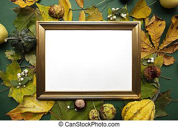 Green yellow autumn harvest around gold blank frame top view...
