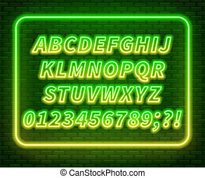 Green yellow gradient neon alphabet on a dark background . Bright font for decoration.Capital letter.