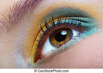 green-yellow makeup - closeup of a bright eye makeup