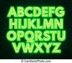 Green yellow neon alphabet on a dark background . Capital letter.