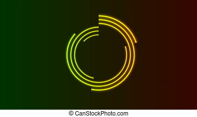 Green and yellow neon loading waiting circular elements motion graphic design. Laser illumination rings abstract background. Seamless looping. Video animation Ultra HD 4K 3840x2160