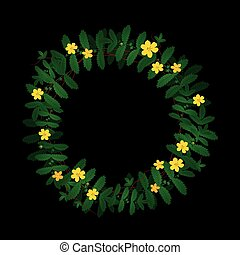 Green yellow plant leaf flower wreath border frame decoration on black