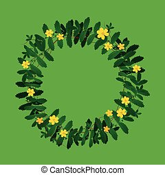 Green yellow plant leaf flower wreath border frame decoration on green