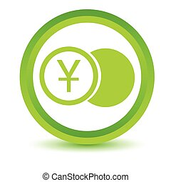 Green yen coin icon