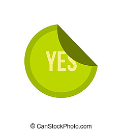 Green yes button icon, flat style