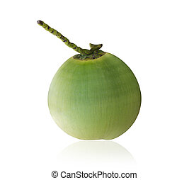 Green young coconut isolated on white background. Saved with clipping path