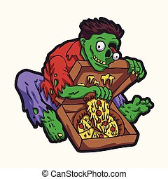 Green zombie eating pizza