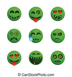 Green zombie emoticons