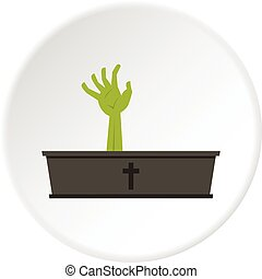 Green zombie hand coming out of his coffin icon