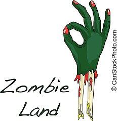 Green zombie hand vector