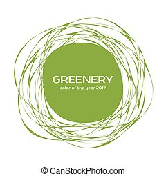 Greenery - color of the year 2017. Vector frame - Greenery -...