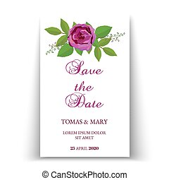 Greenery rustic save the date invitation cards with rose and leaf