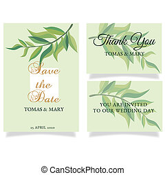 Greenery save the date invitation cards