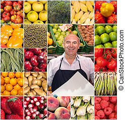 Greengrocer collection - Composition of different fruits and...