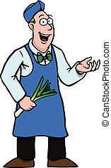 Greengrocer with leek showing something