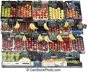 Greengrocers stall at the market isolated on white