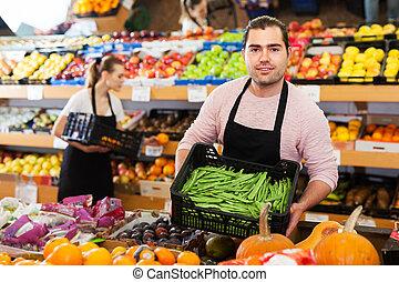 greengrocery, haricots, vendeur