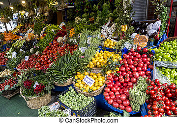 Greengrocery - Vegetables and fruits displayed at a ...