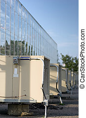 Greenhouse air conditioners in a row