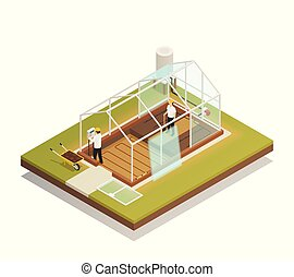 Greenhouse Facility Construction Isometric Composition