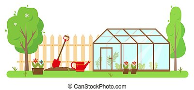 Greenhouse, gardening tools and trees in garden. Spring or ...