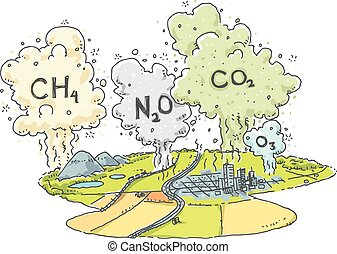 Greenhouse Gas Emissions - A cartoon landscape with clouds...