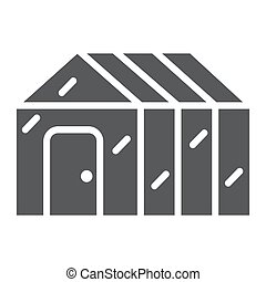 Greenhouse glyph icon, garden and farm, glasshouse sign, ...