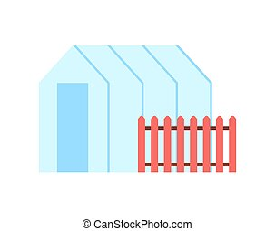 Greenhouse Hothouse and Fence Vector Illustration - ...