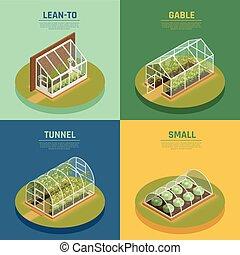 Greenhouse Hothouse Conservatory Isometric Set - Greenhouses...