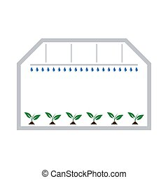 Greenhouse Icon. Flat Color Design. Vector Illustration.