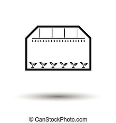 Greenhouse icon. White background with shadow design. Vector...