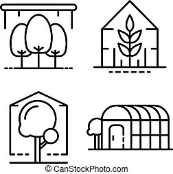 Greenhouse icons set, outline style