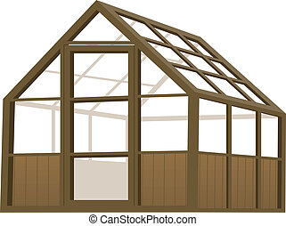 Illustration of a wood structure type greenhouse.