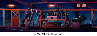Greenhouse interior at night with potted plants. Empty ...