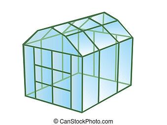 greenhouse isolated on white background. 10 EPS