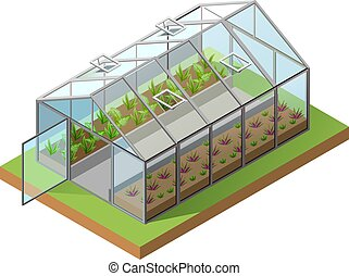 Greenhouse isometric 3d icon. Growing seedlings in ...