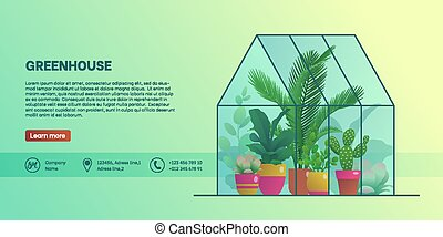 Greenhouse landing page template. Home glass orangery with ...